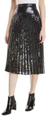 Parker Citrine Sequined High-Waist Midi Skirt