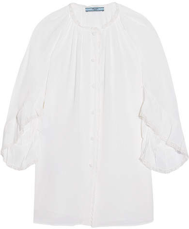 Prada - Ruffled Lace-trimmed Silk Crepe De Chine Blouse - Ivory
