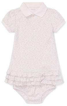 Ralph Lauren Childrenswear Baby Girls Two-Piece Floral Cotton Polo Dress Bloomers Set