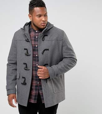 Asos DESIGN PLUS Wool Mix Duffle Coat In Light Gray
