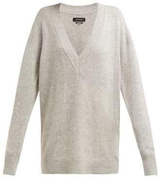 Isabel Marant Cadzi Oversized V Neck Cashmere Sweater - Womens - Light Grey