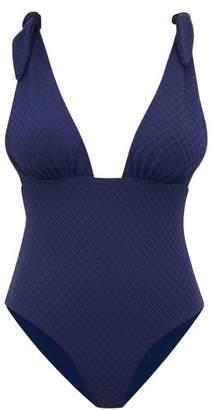 Mara Hoffman Daphne Shoulder Tie Jacquard Swimsuit - Womens - Navy
