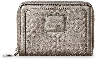 Love Moschino Pewter Pebbled Faux Leather Wallet