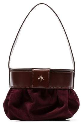 Atelier Manu burgundy pouched suede and leather shoulder bag