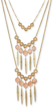"Lucky Brand Gold-Tone Multi-Stone Statement Necklace, 14-1/4"" + 2"" extender"