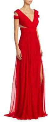 Pamella Roland Pleated Chiffon Gown