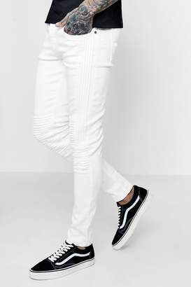 boohoo Skinny Fit Jeans With Panelled Biker Detail