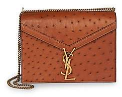 Saint Laurent Women's Cassandra Ostrich Leather Shoulder Bag