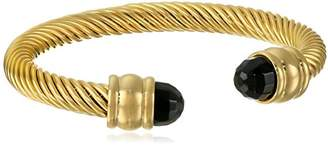 Ladies 18k Plated Adjustable Black Onyx Cuff Bracelet