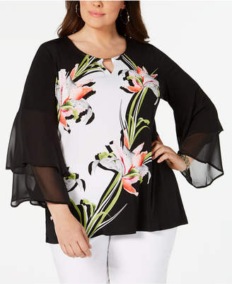 bfbac46da3c JM Collection Plus Size Printed Bell-Sleeve Tunic