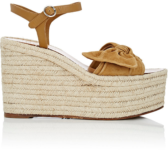 Valentino Women's Tropical Suede & Leather Espadrille Wedge Sandals