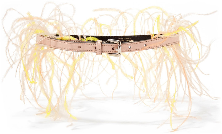 Emilio PucciEmilio Pucci Feather-embellished leather belt