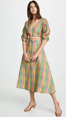 Nicholas Gathered Sleeve Plaid Dress