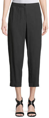 Eileen Fisher Cotton Crepe Tapered Cropped Pants