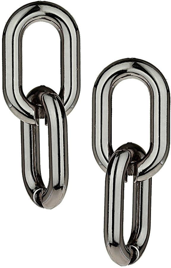 Topshop Gunmetal Curb Drop Earrings