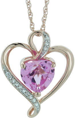 FINE JEWELRY Lab-Created Pink & White Sapphire Heart Pendant Gold Over Sterling Necklace