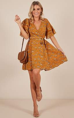 Showpo Simply Be dress in mustard floral
