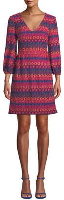 Trina Turk Nicole Crochet Dress w/ Bubble Sleeves