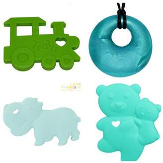 Vulli Pretty Baby Silicone Baby Teether Toy Set To Reduce Teething Pain & Inflammation. Bonus Silicone Teething Necklace Worth $10 Yours FREE. Soft Chewy Teethers For Baby Shower Gifts, Baby Gifts. Better than Sophie the Giraffe Teethers.