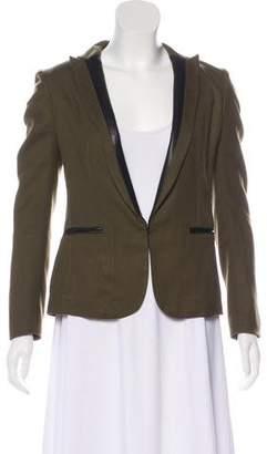 Rag & Bone Leather-Trimmed Wool Blazer