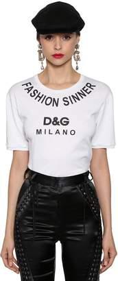 Dolce & Gabbana Fashion Sinner Printed Jersey T-Shirt