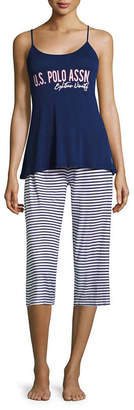 U.S. Polo Assn. Womens-Juniors Capri Pajama Set Short Sleeve