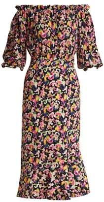 Saloni Grace Mirage Print Silk Dress - Womens - Black Multi