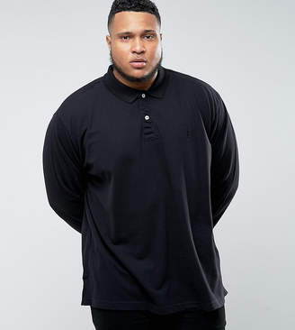 Jacamo PLUS Long Sleeve Polo In Black