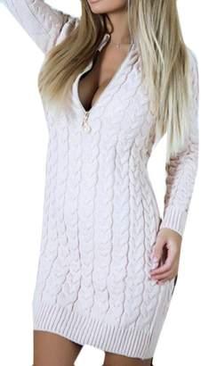 KLJR-Women Slim Fit Long Sleeve Zipper Front V Neck Warm Sweater Mini Dress US S
