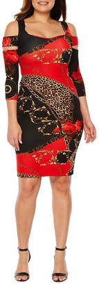 Bold Elements 3/4 Sleeve Animal Bodycon Dress