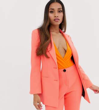 Asos DESIGN petite fluro pink suit blazer