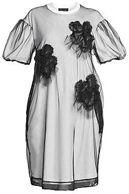 Simone Rocha Women's Ruched Floral Tulle Overlay T-Shirt Dress