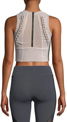 Cushnie et Ochs Kira High-Neck Performance Mesh Crop Top with Lace-Up Detail