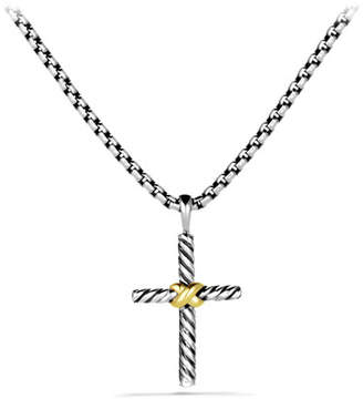 David Yurman Petite X Cross with Gold on Chain
