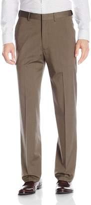 Haggar Men's Premium Stretch Solid Gabardine Expandable Plain Front Dress Pant