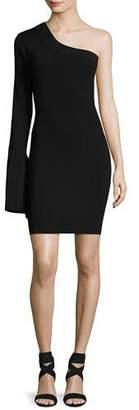 SOLACE London Danica One-Shoulder Ponte Mini Dress, Black