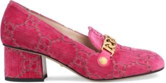 07d23ea232c Gucci Sylvie GG velvet mid-heel pump