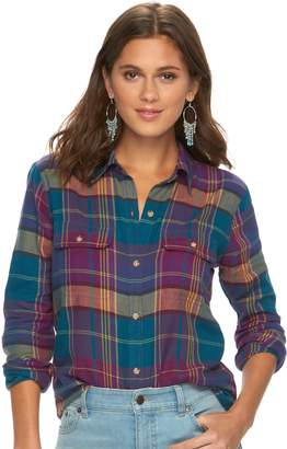 Chaps Women's Plaid Twill Button-Down Shirt