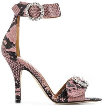d690db86607 Paris Texas snakeskin crystal buckle sandals