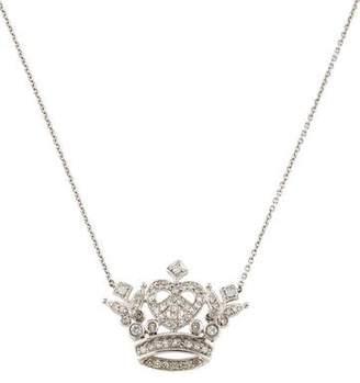 18K Diamond Peace Love Crown Pendant Necklace