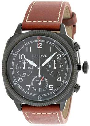 Bulova 98B245 Military Collection UHF Black Dial Brown Leather Men's Chronograph Watch