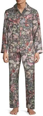 Valentino 2-Piece Printed Silk Pajama Set