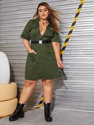 Shein Plus Plunge Neck Belted Cargo Dress