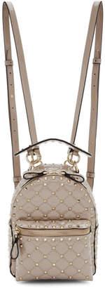 Valentino Pink Garavani Patent Mini Spike Backpack