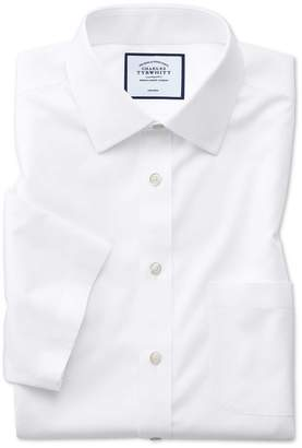 Charles Tyrwhitt Classic Fit Non-Iron White Natural Cool Short Sleeve Cotton Dress Shirt Size 15/Short