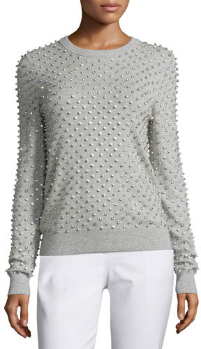 MICHAEL Michael Kors Michael Kors Rhinestone-Embellished Cashmere Sweater, Pearl/Gray