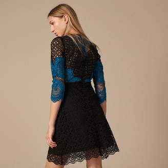 Sandro Short contrasting lace dress