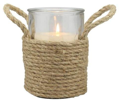 CKK Home Decor Stonebriar Nautical Rope Wrapped Pillar Candle Holder with Handles