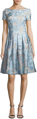 St. John Organza Fit & Flare Floral Cocktail Dress