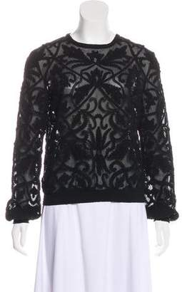 Intermix Sheer Lace Long Sleeve Top